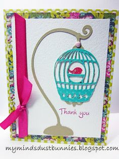A2 card base Bird stand - 3 Birds on Parade  Bird Cage and Bird - Straight from the Nest