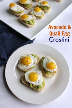 Avocado and Quail Egg Crostini Mini versions of avocado toast with eggs would make a great appetizer, light lunch or fun breakfast or brunch option. The crostini come together quickly and the quail egg sits on top like the crowning jewel! Quail Recipes, Egg Recipes, Recipies, Easy Brunch Recipes, Breakfast Recipes, Toast Egg, Quail Eggs For Sale, Avocado Toast, Pickled Quail Eggs