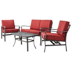 Threshold™ Hawthorne 4-piece Metal Patio Conversation Furniture Set - Red