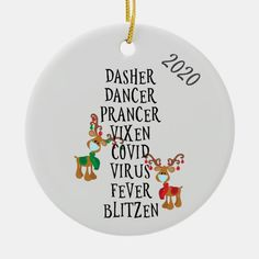 Christmas Funny Reindeer Names Covid 2020 Ceramic Ornament - tap, personalize, buy right now! #CeramicOrnament #christmas, #ornament, #2020, #coronavirus, #covid, Funny Christmas Ornaments, Christmas Crafts For Gifts, Perfect Christmas Gifts, Christmas Humor, Christmas Fun, Creative Diy Christmas Gifts, Christmas List Ideas, Cricut Projects Christmas, Funny Christmas Decorations