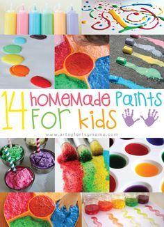 14 Homemade Paints for Kids at http://artsyfartsymama.com #kidscrafts #recipes