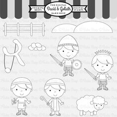 David and Goliath Stamps - digital stamps for creating crafts, coloring sheets and more.