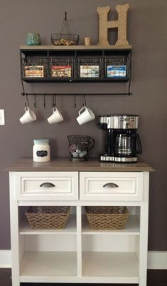 Love my latest Pinterest project - coffee station  -- I NEED a house with space for this!!!! by judy #coffeeoffice