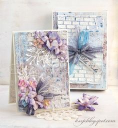 Klaudia/Kszp, Card with paper flowers in watercolors. Card with box. Flower Cards, Paper Flowers, Mixed Media Cards, Shabby Chic Cards, Card Maker, Homemade Cards, Crafts To Make, Wedding Cards, Craft Projects