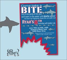 Shark Party Invite AND Thank You notes Instant DIGITAL by boogaboo