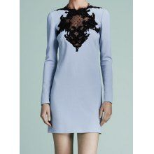 Charming Round Collar Voile Splicing Long Sleeves Bodycon Dress For Women