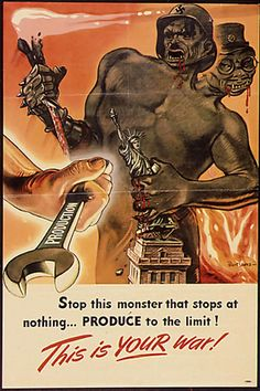 2 headed monster of the Axis powers Hitler and Hirohito, destroying American icons and ideals. WWII propaganda poster