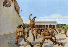 1936 Chichén Itzá Mayan Ball Game - H. M. Herget Vintage