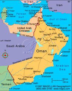 Seven Degrees Southward – the journey from Al Ain to Salalah - The Desert Diva Dubai Map, Salalah, Sultanate Of Oman, Geography Map, Asia Map, Arabian Peninsula, Costa, Arabian Sea, Oman Travel
