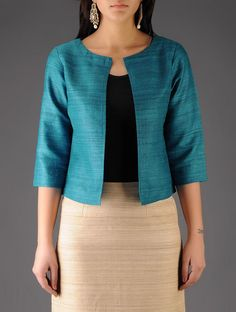 Turquoise Ghicha Silk Jacket Buy Turquoise Ghicha Silk Jacket Cotton Lining Apparel Jackets Silken Spring […] The post Turquoise Ghicha Silk Jacket appeared first on How To Be Trendy. Kurti Neck Designs, Kurta Designs Women, Kurti Designs Party Wear, Saree Blouse Designs, Kurti With Jacket, Silk Jacket, Jacket Dress, Jacket Style Kurti, Cotton Jacket