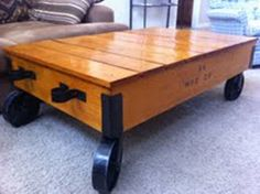 STEAMPUNK Industrial Retro Mid Century MACHINE AGE Rolling Cart Coffee Table
