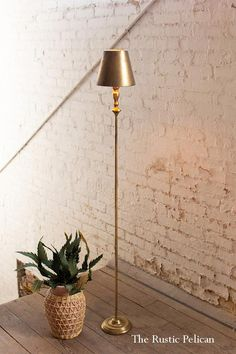 Farmhouse Lighting - tall modern stylish gold lamp with a gold shade - The Rustic Pelican Diy Pendant Light, Pendant Light Fixtures, Pendant Lighting, Modern Farmhouse Lighting, Farmhouse Light Fixtures, Modern Lighting, Dim Lighting, Lighting Design, Lighting Ideas