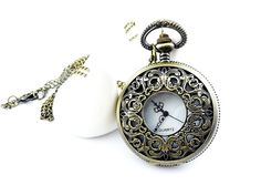 Large Size Pocket Watch with Filigree Flower    B276 by ministore, $4.90