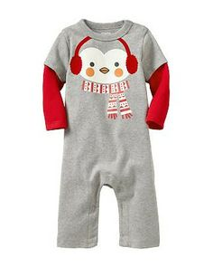 Bundle up Baby in this cozy penguin one-piece! Bonus: It has snaps along the inseam to make dressing and diaper changes quick. Click above to buy one.