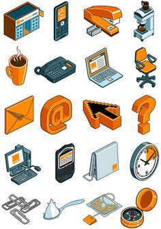 Icon designs for Orange Mobile Phones by Rod Hunt Illustration, via Flickr   http://www.rodhunt.com