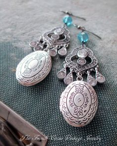 SACRED LOCKETS  vintage assemlage earrings by The French Circus, $67.00
