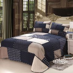 mixinni Cotton Geometric Pattern Bedding 3 Piece Bedspread Quilt Set With Two Matching Shams-(Navy Blue,Queen Size) Daybed Bedding, Comforter Sets, King Size Quilt Sets, Shabby, Bed In A Bag, Quilted Bedspreads, Queen Size Bedding, Home Decor Accessories, Gothic Accessories
