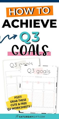 Want to set awesome goals for the third quarter (Q3) of the year? Use this simple, practical (and free!) worksheet to achieve quarter three goals.  Check out these cute and free worksheets and get your stuff done.  #freeprintable #howto #goals #printable #worksheets #planning Free Worksheets, Printable Worksheets, Free Printables, Planner Sheets, Planner Pages, Self Development, Personal Development, Life Organization, Organizing