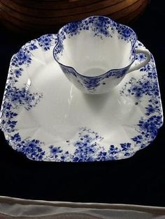 """Shelley, hostess/snack set in """"Dainty Blue"""", Fine Bone China, Made in England   Sweet!"""