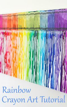 Melted Rainbow Crayon Art Tutorial - by Glorious Treats.make this, but don't glue the crayons on. Either make the rainbow colors cover the entire canvas, or put verse in place of crayons. For kids wall someday. Diy Crayons, Crayon Crafts, Melting Crayons, Sharpie Crafts, Cute Crafts, Crafts To Do, Arts And Crafts, Crayon Art Tutorials, Rainbow Crayon
