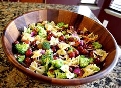 Sweet and Tangy Bacon Broccoli Pasta Salad- seems like the perfect marriage of pasta salad which bryan loves and broccoli salad that I LOVE. I suppose I could use my own broccoli cauliflower salad recipe and add pasta like she does. yum.