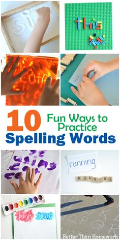 10 fun and hands-on ways to practice spelling words. Fun ways to prepare for spelling tests at home or in the classroom. Spelling Word Activities, Spelling Word Practice, Grade Spelling, Spelling Words, Literacy Activities, Vocabulary Games, Listening Activities, Vocabulary Strategies, Spelling Ideas