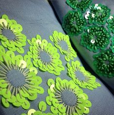 Loving the palette, the creative application, the genius-ness. Embroidery Leaf, Hand Embroidery Dress, Tambour Embroidery, Bead Embroidery Patterns, Couture Embroidery, Embroidery Fashion, Embroidery Jewelry, Hand Embroidery Designs, Embroidery Stitches
