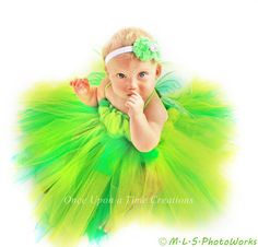 Infant Size Tinkerbell Inspired Tutu Dress - Photo Prop, Halloween Costume - Newborn 3 6 9 12 Months - Disney Tinker Bell Inspired