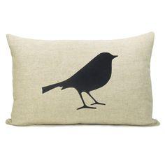 Bird pillow case - Black bird print on natural beige canvas cushion cover - 12x18 lumbar pillow cover. $34.00, via Etsy.