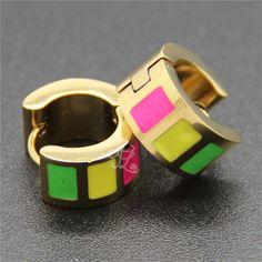Wholesale Brand New Design Women Girl Stainless Steel Bling Crystal Resin Bright Colorful Huggie Hoop Earrings