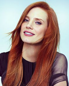 Jessica Chastain--beautiful multi-faceted red copper hair colour.