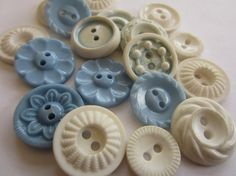 Vintage Buttons  Cottage chic mix of  blue and by pillowtalkswf, $7.95