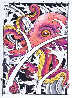 octopus painting by Ben Corn Octopus Painting, Octopus Drawing, Octopus Tattoo Design, Octopus Tattoos, Octopus Art, Ocean Art, Ocean Room, Ink Master, Silk Art