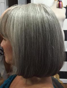 Gray Bob With Bangs For Mature Women