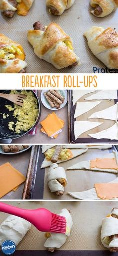 Crescent rolls, sausage links, and scrambled eggs rolled into a breakfast treat! An easy recipe for moms on-the-go.