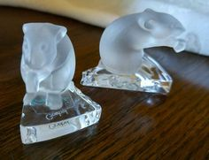 Goebel Crystal Collection Art Glass frosted Mouse on Cheese Slice set of 2