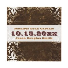 Vintage Rustic Brown Damask Wedding Invitations