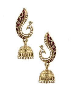 Voylla Peacock Inspired Pair Of Jhumki Earrings With Red Enamel - http://weddingcollections.co.in/product/voylla-peacock-inspired-pair-of-jhumki-earrings-with-red-enamel/