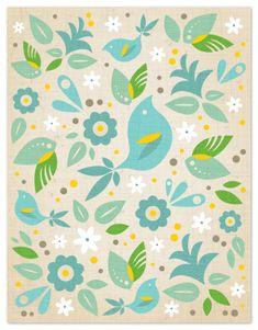 Bright green, light green, bright blue, white, cream, yellow, gray. Blue Bird by Kristen Smith