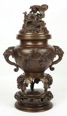 ANTIQUE CHINESE TEMPLE INCENSE BURNERS | antique japanese old bronze censor shishi lion bird chrysanthemum ...