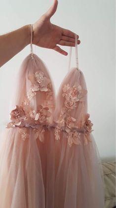 Prom dresses - Romantic Spaghetti Straps Long Formal Dress with Handmade Flowers – Prom dresses Graduation Dresses, Homecoming Dresses, Tulle Prom Dress, Dress Party, Evening Dresses, Formal Dresses, Wedding Dresses, Pink Evening Dress, Dresses Dresses