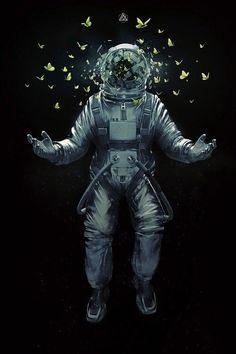 Astronauts Ine Poster Cosmos Cyberpunk Concept Art Trippy Fantasy