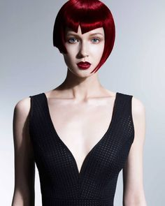 Gorgeous Red on this Asymmetrical Bob from Francesco Group Cheltenham's Lisa Walby. Wales and South West Hairdresser of the Year Finalist 2014!