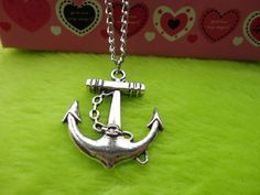 Antique Silver  Necklace--Steampunk Anchor Necklace  Fashion Jewelry. $2.99,