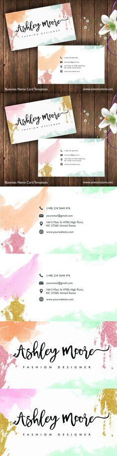 Watercolor Name Card