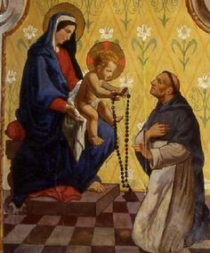 Jesus handing the rosary to St Dominic.