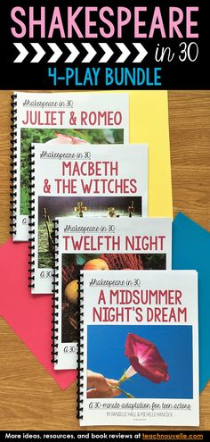 4 Plays - Shakespeare in Juliet & Romeo, Macbeth, Twelfth Night, Midsummer High School Classroom, English Classroom, Future Classroom, Classroom Ideas, 8th Grade Ela, Teaching Resources, Teaching Strategies, Teaching Ideas, Middle School Ela