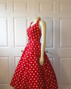 Vintage Dress 50s 60s Rockabilly Red & by 2sweet4wordsVintage,
