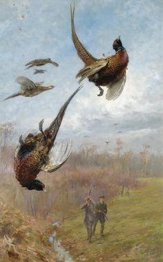 Английский художник Thomas Blinks (1853 -1910) Deer Hunting Tips, Hunting Art, Archery Hunting, Pheasant Hunting, Wildlife Paintings, Wildlife Art, Animal Paintings, Oil Paintings, Hunter Dog