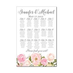 Wedding Seating Chart, Rustic Wedding, Floral Wedding, Printable Seating  Chart, Seating Plan, Table Chart, Printable Seating Sign #CL114